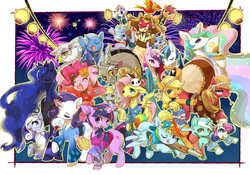 Size: 1554x1087 | Tagged: safe, artist:yoona, angel bunny, apple bloom, applejack, big macintosh, bon bon, cloudchaser, derpy hooves, discord, flitter, fluttershy, gilda, lyra heartstrings, philomena, pinkie pie, princess cadance, princess celestia, princess luna, rainbow dash, rarity, scootaloo, shining armor, spitfire, sweetie belle, sweetie drops, trixie, twilight sparkle, oc, oc:snowdrop, alicorn, draconequus, dragon, earth pony, griffon, pegasus, phoenix, pony, unicorn, action poster, clothes, cutie mark crusaders, detailed, drums, everypony, fan, female, festival, filly, fireworks, flower, flower in hair, japan, japanese, kimono (clothing), lantern, levitation, magic, male, mare, mask, paper lantern, pixiv, stallion, telekinesis, toy gun, wall of tags, yukata