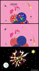 Size: 1740x3100 | Tagged: safe, artist:klystron2010, pinkie pie, atom, comics, deconfinement, earth shattering kaboom, electron, frown, glare, gluon, helium, molecule, moon, neutron, nucleus, open mouth, pinkie being pinkie, pinkie physics, planet, pointing, proton, pun, quark, raised hoof, science, sun, wat, wide eyes