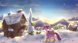 Size: 1500x830   Tagged: safe, artist:rigi, spike, twilight sparkle, unicorn, winter wrap up, boots, clothes, cloud, crescent moon, duo, looking up, moon, morning, mountain, ponyville, scarf, scenery, sky, sleeping, snow, sunrise, tree, walking, winter