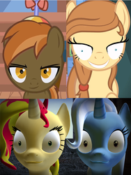 Size: 664x882 | Tagged: 3d, button mash, gmod, mutton bash, oc, oc:cream heart, pony, rapeface, safe, sunset shimmer, trixie