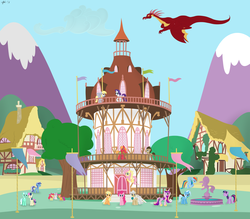 Size: 6000x5250 | Tagged: source needed, useless source url, safe, artist:twolittleunicorns, apple bloom, applejack, basil, big macintosh, bon bon, derpy hooves, doctor whooves, fluttershy, lyra heartstrings, mayor mare, minuette, princess cadance, rainbow dash, rarity, scootaloo, sweetie belle, sweetie drops, time turner, trixie, twilight sparkle, dragon, earth pony, pony, unicorn, absurd resolution, female, filly, flag, flying, foal, fountain, house, male, mare, mountain, ponyville, ponyville town hall, rope, stallion, statue, town hall, unicorn twilight, vector
