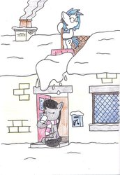 Size: 1024x1491   Tagged: safe, artist:bobthedalek, dj pon-3, octavia melody, vinyl scratch, pony, backwards cutie mark, bipedal, clothes, cup, drink, drinking, mug, scarf, shovel, snow, this will end in tears and/or death, traditional art, winter