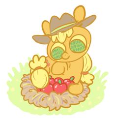 Size: 373x405 | Tagged: safe, artist:hamigaki-momo, applejack, apple, nest, solo, that pony sure does love apples