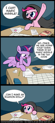 Size: 800x1776   Tagged: safe, artist:whatsapokemon, pinkie pie, twilight sparkle, alicorn, earth pony, pony, accounting, book, calculator, cloak, clothes, comic, dungeons and dragons, female, hoof on chin, horse taxes, magic missile, mare, pencil, slice of life, spread wings, tabletop game, tax evasion, taxes, twilight sparkle (alicorn), wings