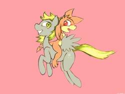 Size: 1600x1200 | Tagged: safe, artist:darkdoomer, derpy hooves, oc, oc:patachu, anthro, anthro on pony action, non-pony oc