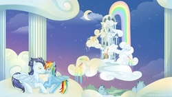 Size: 1920x1080 | Tagged: safe, artist:tinuleaf, rainbow dash, soarin', pegasus, pony, cloud, cloudsdale, cloudy, crescent moon, female, male, mare, moon, night, rainbow, rainbow dash's house, rainbow waterfall, shipping, soarindash, stallion, stars, straight
