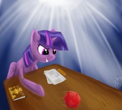 Size: 2000x1800 | Tagged: safe, artist:wafflecannon, twilight sparkle, alicorn, pony, book, d20, dice, dungeons and dragons, female, mare, pencil, solo, twilight sparkle (alicorn)