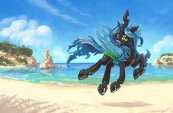 Size: 2000x1300   Tagged: safe, artist:kp-shadowsquirrel, queen chrysalis, changeling, changeling queen, beach, cloud, cute, cutealis, female, jumping, looking at you, open mouth, sand, sky, smiling, solo, wallpaper, water