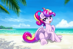 Size: 1500x1000   Tagged: safe, artist:kp-shadowsquirrel, princess cadance, alicorn, pony, beach, bow, cloud, female, hair bow, open mouth, ponytail, sand, sitting, sky, solo, water, younger