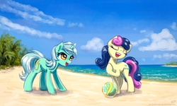 Size: 1500x900   Tagged: safe, artist:kp-shadowsquirrel, bon bon, lyra heartstrings, sweetie drops, earth pony, pony, unicorn, ball, beach, cloud, duo, eyes closed, female, mare, open mouth, sand, sky, water