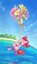 Size: 1000x1700   Tagged: safe, artist:kp-shadowsquirrel, fluttershy, pinkie pie, earth pony, pegasus, pony, beach, carrying, cloud, eyes closed, female, flying, hanging, mare, open mouth, rope, sand, scenery, sky, water