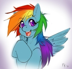 Size: 798x759 | Tagged: safe, artist:fluff-kevlar, rainbow dash, looking at you, open mouth, portrait, sketch, smiling, solo, spread wings