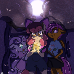 Size: 1000x1000 | Tagged: safe, artist:arnachy, apple bloom, scootaloo, sweetie belle, anthro, adventure, clothes, cutie mark crusaders, dark, dress, everfree forest, forest, glow, golden apple, night, overalls, scared, shirt, stick