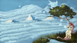 Size: 1600x900 | Tagged: safe, artist:auroriia, fluttershy, beret, cloud, cloudy, mountain, mountain range, paintbrush, river, scenery, sky, stars, stream, tree
