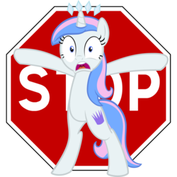 Size: 1460x1462 | Tagged: artist:hfbn2, artist:liggliluff, bipedal, female, frown, looking at you, mare, oc, oc only, oc:princess paradise, open mouth, pony, safe, simple background, solo, stop, stop sign, transparent background, unicorn, vector, wide eyes