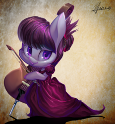 Size: 2944x3179 | Tagged: safe, artist:jggjqm522, octavia melody, pony, bipedal, cello, chibi, clothes, cute, dress, female, flower, hoof hold, lidded eyes, looking at you, musical instrument, smiling, solo