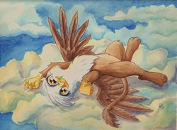 Size: 1024x750 | Tagged: safe, artist:the-wizard-of-art, gilda, griffon, behaving like a cat, catbird, catnip, cloud, cloudy, cute, female, gildadorable, griffons doing cat things, on back, solo, traditional art, watercolor painting