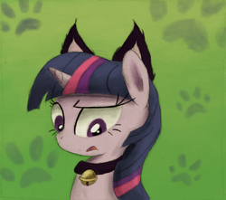 Size: 800x708 | Tagged: safe, artist:hewison, twilight sparkle, bell, bell collar, cat bell, cat ears, collar, solo, twilight cat