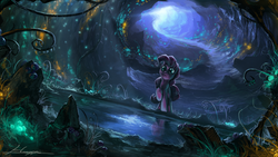 Size: 1920x1080   Tagged: safe, artist:huussii, pinkie pie, earth pony, pony, too many pinkie pies, cave, cave pool, detailed, everfree, female, glow, mirror pool, scene interpretation, scenery, scenery porn, solo, wallpaper