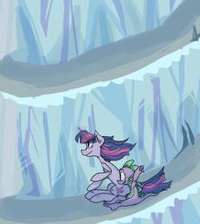 Size: 1279x1432 | Tagged: safe, artist:twistydoo, spike, twilight sparkle, dragon, pony, unicorn, the crystal empire, duo, female, gravity, king sombra's stair dimension, male, mare, scene interpretation, slide, sliding, stairs, unicorn twilight
