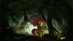 Size: 1661x938   Tagged: safe, artist:devinian, apple bloom, earth pony, pony, timber wolf, bow, detailed, everfree forest, eyes in the dark, female, filly, forest, glowing eyes, hair bow, lost, poison joke, scenery porn, solo, tree