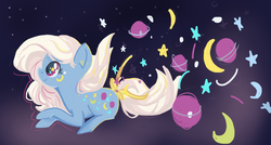 Size: 1280x685 | Tagged: safe, artist:berryden, night glider (g1), female, g1, g1 to g4, generation leap, moon, planet, solo, stars, surreal, the cosmos