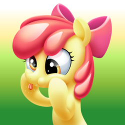 Size: 2500x2500 | Tagged: safe, artist:kas92, artist:roadsleadme, apple bloom, pony, :p, :t, adorabloom, cute, derp, female, funny face, puffy cheeks, raspberry, silly, silly pony, smiling, solo, squishy cheeks, svg, tongue out