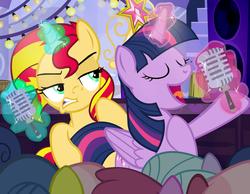 Size: 1200x930 | Tagged: safe, artist:pixelkitties, sunset shimmer, twilight sparkle, alicorn, pony, unicorn, magic, pixelkitties' brilliant autograph media artwork, rebecca shoichet, singing, twilight sparkle (alicorn), voice actor joke