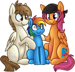 Size: 533x510 | Tagged: safe, artist:littlepinkalpaca, featherweight, scootaloo, oc, oc:rainbow blitz, ask the future crusaders, adopted offspring, bandana, blind, colt, male, not rainbow dash, offspring, older, parent:featherweight, parent:rainbow dash, parent:scootaloo, parent:soarin', parents:scootaweight, parents:soarindash, scootaweight, shipping, simple background, straight, transparent background