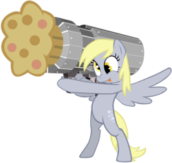 Size: 6055x5765 | Tagged: source needed, useless source url, safe, artist:maximillianveers, derpy hooves, pony, absurd resolution, bipedal, cannon, cannon ponies, muffin, muffin cannon, muffin launcher, simple background, tongue out, transparent background, vector