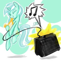 Size: 1200x1200 | Tagged: safe, artist:coin-trip39, lyra heartstrings, pony, unicorn, amplifier, audio equipment, cable, eyes closed, female, grin, lyre, making music, music, music notes, musical instrument, playing, sketch, smiling, solo, speakers