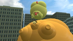 Size: 1366x768 | Tagged: 3d, appleblimp, apple bloom, applejack, artist:anon06952, blimp, floating, gmod, inflation, safe