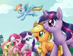 Size: 800x622 | Tagged: safe, artist:mahoxyshoujo, applejack, fluttershy, pinkie pie, rainbow dash, rarity, twilight sparkle, happy, mane six