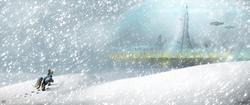 Size: 4096x1714   Tagged: safe, artist:jasper77wang, rainbow dash, airship, female, futuristic, snow, snowfall, solo
