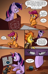 Size: 900x1391 | Tagged: artist:pluckyninja, cheating, comic, dexter's laboratory, dice, dice bag, dungeon master, dungeons and dragons, killer dm, roleplaying, safe, scootaloo, spitfire, stupid sexy spitfire, tabletop game, tumblr, tumblr:sexy spitfire, twilight sparkle
