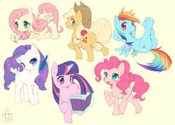 Size: 1200x855 | Tagged: applejack, artist:kishibe, cute, fluttershy, mane seven, mane six, pinkie pie, rainbow dash, rarity, safe, spike, twilight sparkle