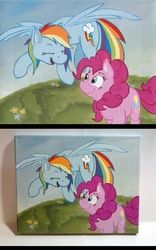 Size: 750x1200 | Tagged: acrylic, artist:thepingaslord, painting, pinkie pie, rainbow dash, safe, traditional art
