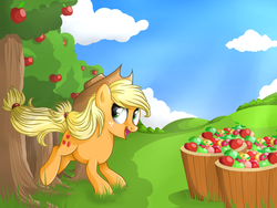 Size: 3000x2250 | Tagged: apple, applebucking, applejack, artist:rivamon, safe, solo, tree