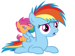 Size: 5760x4320 | Tagged: artist:beavernator, baby, baby pony, baby scootaloo, cute, cutealoo, dashabetes, eating, filly, foal, nom, on back, pony, ponytail, prone, rainbow dash, safe, scootaloo, simple background, transparent background, vector, wat, younger