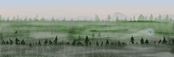 Size: 900x300 | Tagged: safe, artist:wryte, oc, oc only, oc:songbreeze, pegasus, pony, everfree forest, fog, forest, newbie artist training grounds, scenery, sunrise, tree