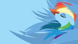 Size: 1920x1080 | Tagged: safe, artist:omniscient-duck, artist:rariedash, rainbow dash, pegasus, pony, blue background, bust, eyes closed, female, floppy ears, lineless, mare, minimalist, modern art, portrait, profile, simple background, solo, vector, wallpaper, windswept mane, wings