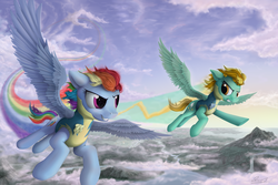Size: 2100x1400 | Tagged: artist:yakovlev-vad, duo, female, flying, lightning dust, mare, pegasus, pony, rainbow dash, rainbow trail, safe, speed trail, wonderbolt trainee uniform