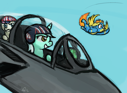 Size: 1500x1091 | Tagged: safe, artist:sevoohypred, bon bon, lyra heartstrings, spitfire, sweetie drops, bon bon is not amused, f-14 tomcat, fighter, flying, jet, jet fighter, pilot, plane, riding, top gun, unamused
