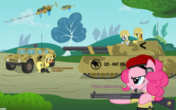 Size: 1024x640   Tagged: safe, artist:a4r91n, artist:jackthebrony, applejack, carrot top, derpy hooves, golden harvest, pinkie pie, rainbow dash, earth pony, pegasus, pony, ch-47 chinook, command and conquer, crossover, female, global defense initiative, gun, hmmwv, humvee, mammoth tank, mare, military, orca assault craft, shotgun, tank (vehicle), tiberian dawn, vehicle, weapon