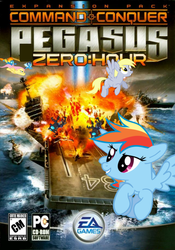 Size: 640x915 | Tagged: safe, artist:nickyv917, derpy hooves, fluttershy, rainbow dash, soarin', spitfire, changeling, pegasus, pony, aircraft, aircraft carrier, command and conquer, command and conquer: generals, crossover, ea, electronic arts, explosion, f-22 raptor, jet fighter, navy, particle cannon, plane, ship, wonderbolts, zero hour