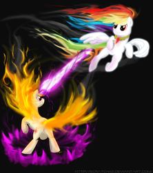 Size: 4000x4500 | Tagged: artist:scratch42, fire, fire head, mane of fire, rage-shift, rainbow dash, rainbow fire, rapidash, rapidash twilight, safe, super rainbow dash, twilight sparkle