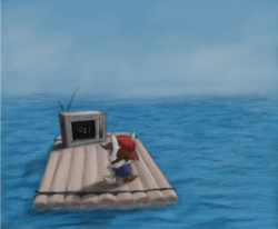 Size: 800x660 | Tagged: artist:hewison, lost, ocean, pipsqueak, raft, safe, solo, television