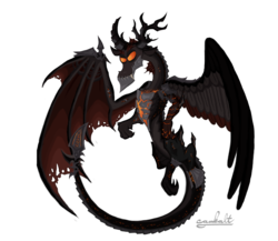 Size: 1500x1300   Tagged: safe, artist:cambalt, discord, dragon, crossover, deathwing, fusion, solo, warcraft