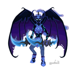 Size: 1500x1300   Tagged: safe, artist:cambalt, nightmare moon, armor, clothes, crossover, fusion, glaive, glowing eyes, illidan stormrage, looking at you, parody, simple background, solo, spread wings, transparent background, vector, warcraft, weapon