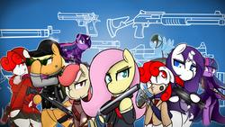 Size: 1191x670   Tagged: safe, artist:ppdraw, applejack, fluttershy, rainbow dash, rarity, twilight sparkle, oc, pony, benelli m4, bipedal, desert eagle, glock, gun, lever action rifle, ump45